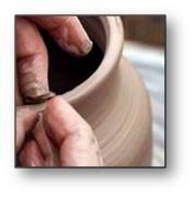 We shape clay into a pot